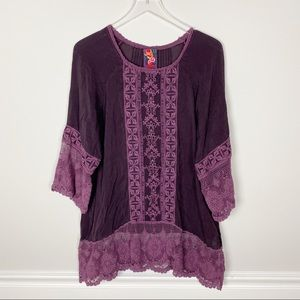Johnny was lace embroidered Tunic dress